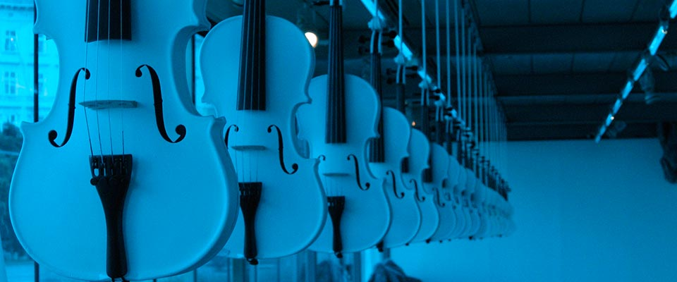 ISLAMIC VIOLINS (installation view) by Ibrahim Quraishi